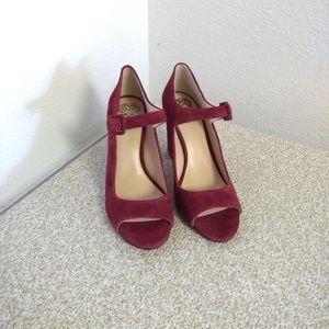 Vince Camuto Burgundy Suede Peep Toe Shoe